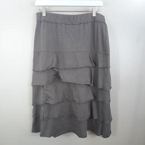 Matilda Jane Brown Layered Ruffle Midi Skirt Sz L